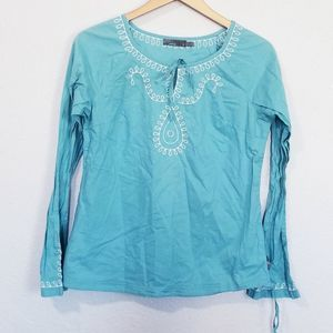 Prana Embroidered Long Sleeve Top Size S Blue
